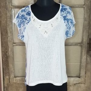 Miss Me blouse small blue floral lace cream blue